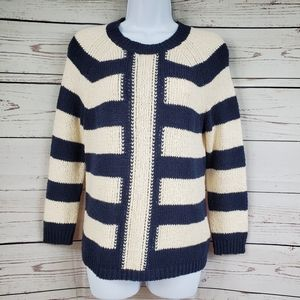 J CREW Mixed Stripe Navy and Champagne Sweater S